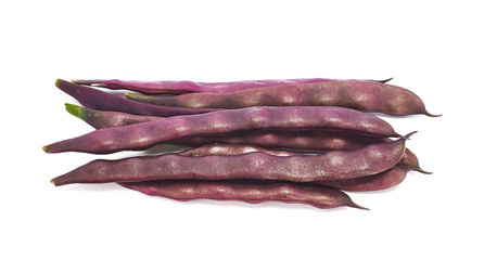 Green beans purple on white background