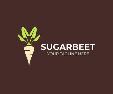 Sugar beet plant logo design. Sugarbeet root vector design. Beetroot logotype