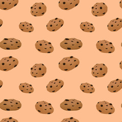 Chocolate chip cookie seamless pattern, vector.