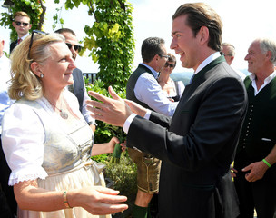 Austria's Chancellor Kurz congratulates Foreign Minister Kneissl at her wedding in Gamlitz