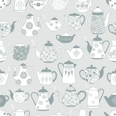Seamless pattern with teapots with ornaments