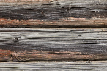 Wooden surface of log wall, texture for backdrop.