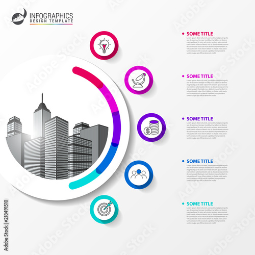 infographic design template creative concept with 5 steps stock