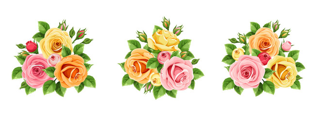 Vector set of pink, orange and yellow roses isolated on a white background.