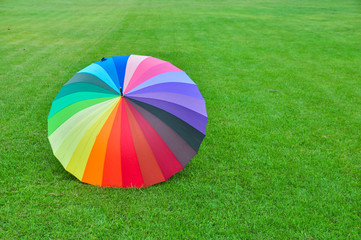 Rainbow umbrella on green grass background.colorful umbrella