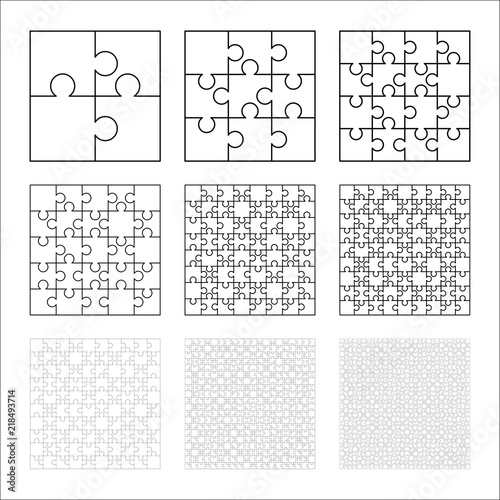 Large set of white puzzles pieces in square shape. Jigsaw Puzzle ...