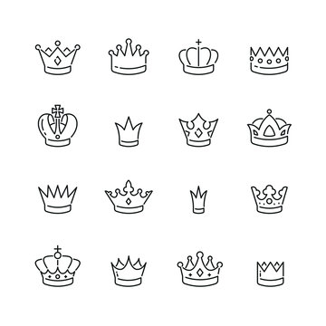Crown related icons: thin vector icon set, black and white kit