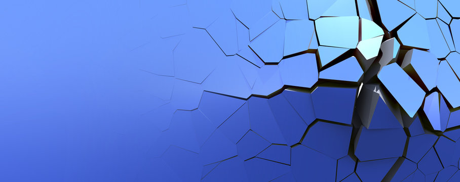 Broken pieces of a wall background on blue isolated wallpaper