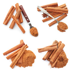 Wall Murals Spices Set with aromatic cinnamon sticks and powder on white background, top view