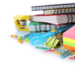 Different colorful stationery on white background. Back to school