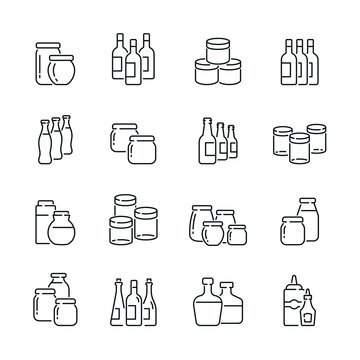 Jars and bottles related icons: thin vector icon set, black and white kit