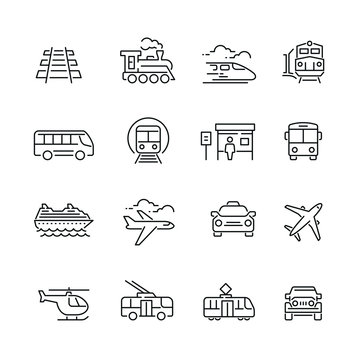 Public transport related icons: thin vector icon set, black and white kit