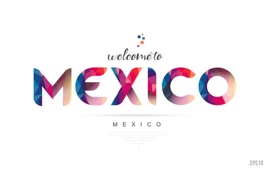 Welcome to mexico mexico city card and letter design typography icon