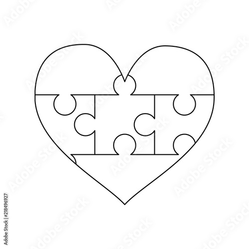 White Puzzles Pieces Arranged In A Heart Shape Simple Jigsaw Puzzle Template Ready For Print
