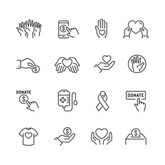 Volunteering and donations related icons: thin vector icon set, black and white kit