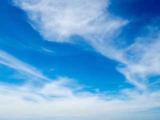 Beautiful unique perspective blue sky with tiny white cloud for background.