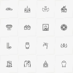 Funeral line icon set with angel , urn for ashes and church candles