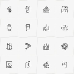 Funeral line icon set with tombstone, urn for ashes and funeral flowers