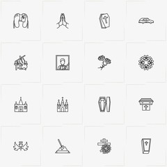 Funeral line icon set with church , cross and wreath