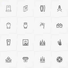 Funeral line icon set with cemetery , funeral portrait  and church