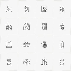 Funeral line icon set with funeral portrait , interment and coffin