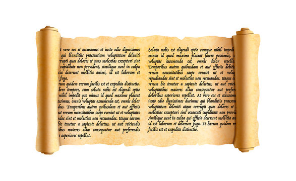 Old textured wide papyrus scroll with ancient latin text without any sense isolated on white