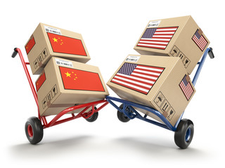 USA China economic trade war market conflict concept.  Two opposing hand trucks and cardboard boxes with USA and China flags.,