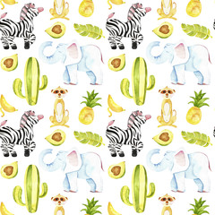 tropic seamless pattern. Cute tropic animals pattern. Perfect for you postcard design, wallpaper, print, invitations, patterns, travel, poster, packaging etc.