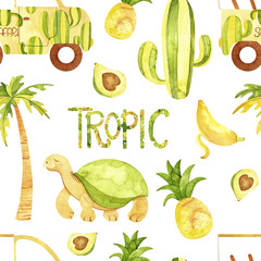 Watercolor tropic seamless pattern. Cute tropic animals pattern. Perfect for you postcard design, wallpaper, print, invitations, patterns, travel, poster, packaging etc.