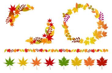 秋の紅葉やフレームやアイコンセット