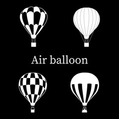 Set of black and white air-balloon , silhouette on black background,