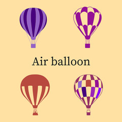 Set of balloons (purple and ultraviolet), silhouette on beige background,