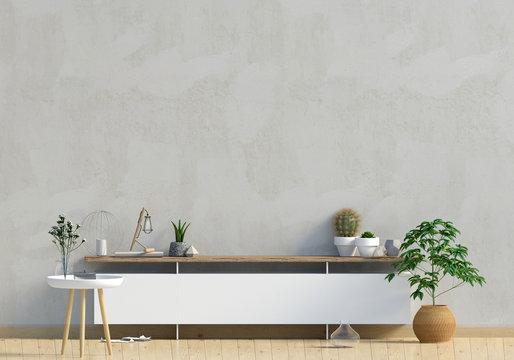 Modern interior design in Scandinavian style. Mock up wall. 3D illustration.