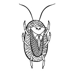 Cockroach. Illustration of a handmade comic style.