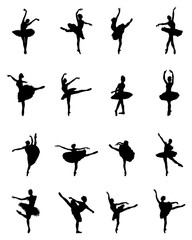 Black silhouettes of ballerinas on white background, vector