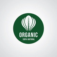 organic 100% natural. Vector healthy food label, badge, sticker design