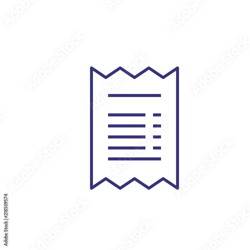 Bill line icon  Cheque, contract, note  Bank concept  Vector