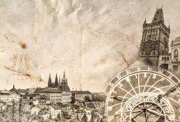 A composition of the main landmark of Prague in the Czech Republic - St. Vitus Cathedral, Tyn Church, Prague Astronomical Clock, Powder Tower - against the background of the panorama of Prague.