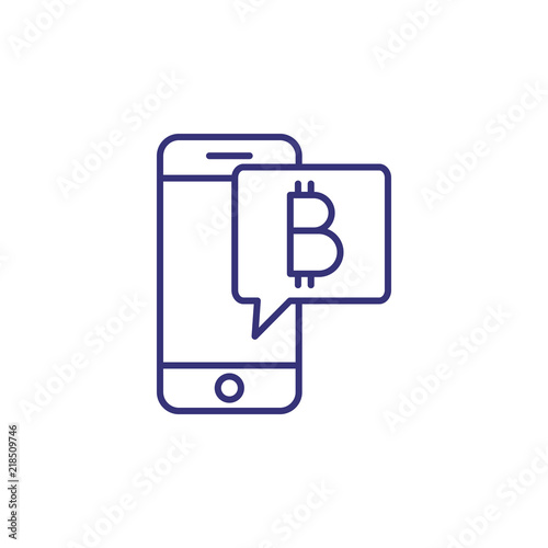 Bitcoin payment online line icon  Mobile app, payment, mobile bank