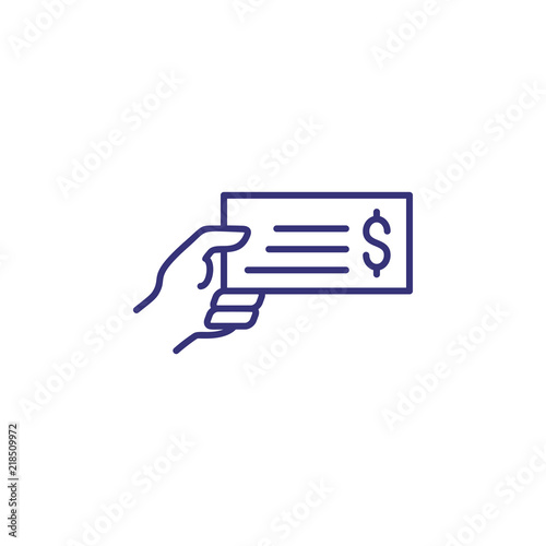 Hand holding bank bill line icon  Payment bill, cheque