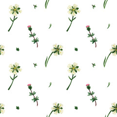 Watercolor wild flowers of Scotland seamless pattern