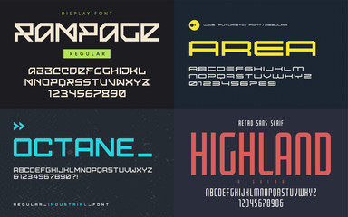 Set of display fonts, typefaces, vector uppercase letters and nu
