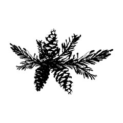 Merry Christmas Hand Drawn christmas tree branch on white. Cute xmas holiday background for postcards, invitations, greeting cards, banners, posters, etc. Made in vector