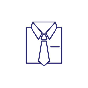 Shirt and tie line icon. Suit, dress code, white collar. Formal wear concept. Can be used for topics like fashion, business, official clothing