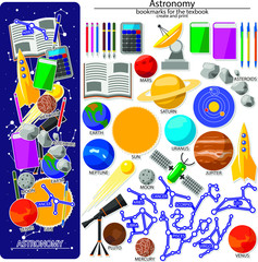 Bookmark creation kit on the astronomy school theme. All elements are located on different layers and can be easily manipulated.