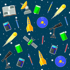 Seamless pattern on the astronomy school theme. All elements are located on different layers and can be easily manipulated.