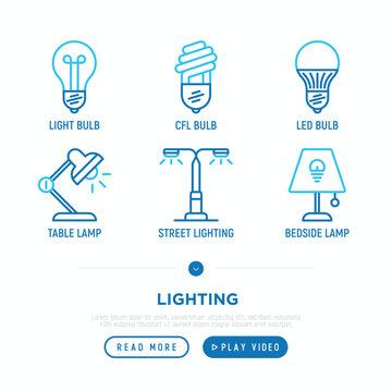 Lighting thin line icons set: light bulb, LED, CFL, table lamp, lamp post, bedtime lamp. Modern vector illustration.