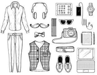Hand drawn sketch with hipster man Accessories. Vector illustration