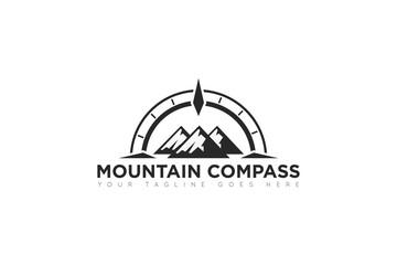 mountain compass logo, icon, symbol, ilustration design template