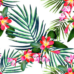 Seamless pattern with exotic flowers. Watercolor background.
